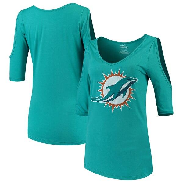 Miami Dolphins Majestic Threads Women's Cold Shoulder 3/4-Sleeve V-Neck T-Shirt - Aqua