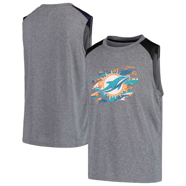 Miami Dolphins NFL Pro Line by Fanatics Branded Youth True Colors Sleeveless T-Shirt - Heathered Gray