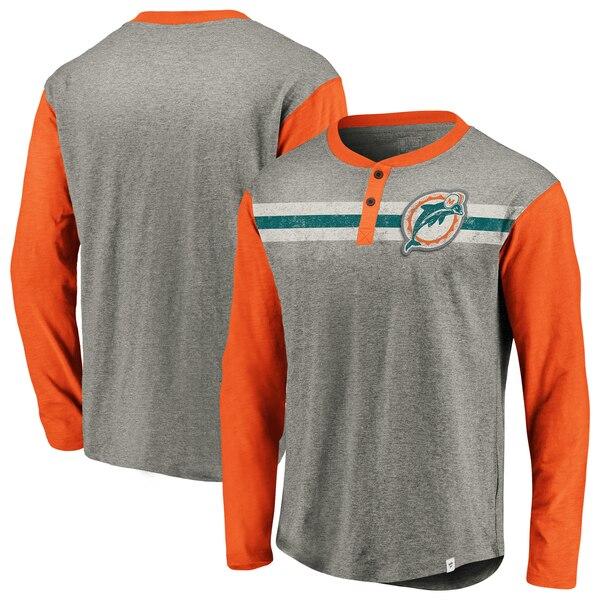 Miami Dolphins NFL Pro Line by Fanatics Branded True Classics Henley Long Sleeve T-Shirt - Heathered Gray/Orange