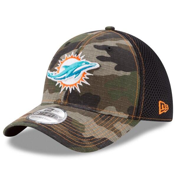 Miami Dolphins New Era Woodland Shock Stitch Neo 39THIRTY Flex Hat - Camo