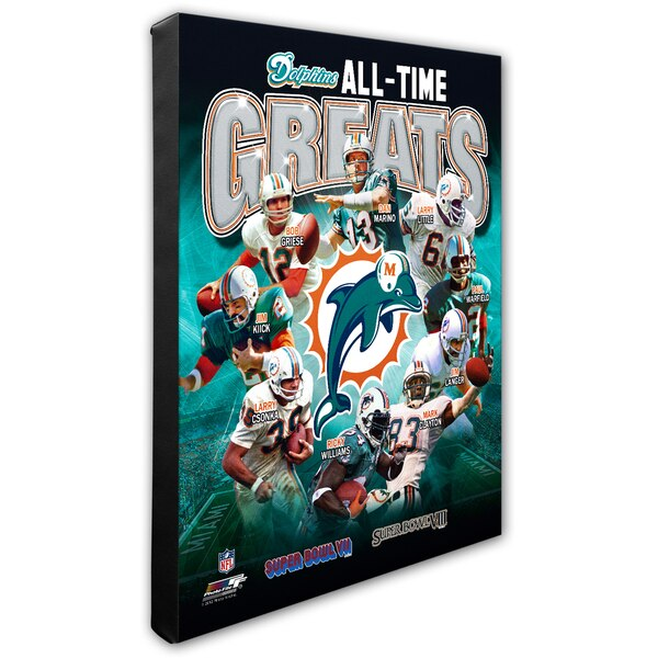 """Miami Dolphins 16"""" x 20"""" All-Time Greats Canvas"""