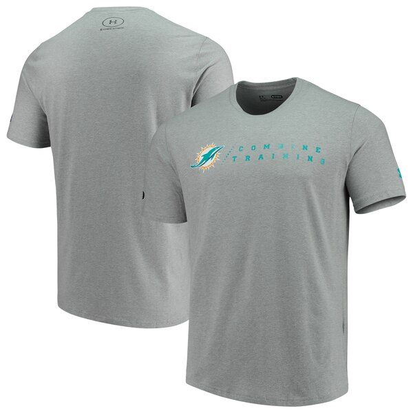 Miami Dolphins Under Armour Combine Authentic Team Logo Training Tri-Blend Performance T-Shirt - Heathered Gray