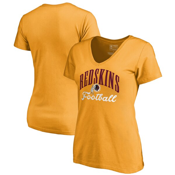 Washington Redskins NFL Pro Line by Fanatics Branded Women's Victory Script V-Neck T-Shirt -Gold