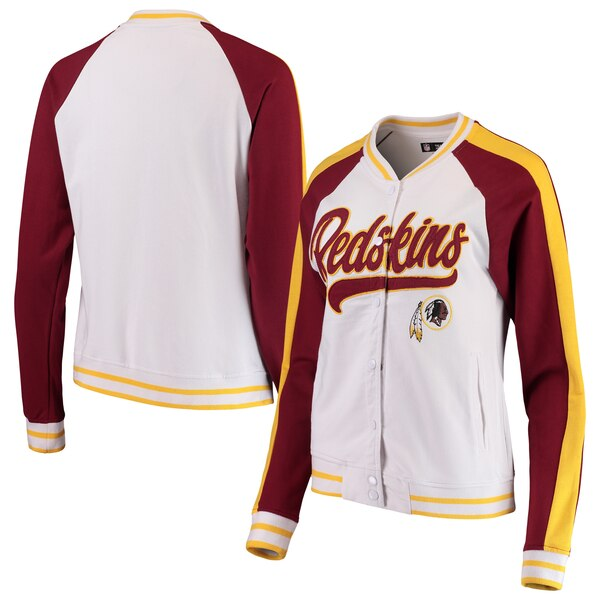 Washington Redskins New Era Women's Varsity Full Snap Jacket - White/Burgundy