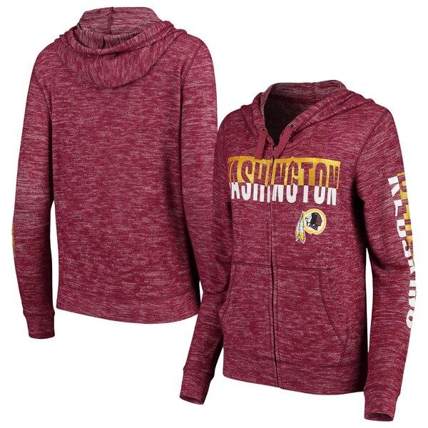Washington Redskins New Era Women's Glitter Sweater Knit Tri-Blend Full-Zip Hoodie - Burgundy