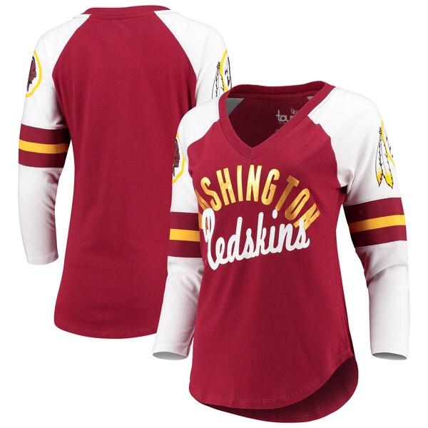 Washington Redskins Touch by Alyssa Milano Women's Reflex 3/4-Sleeve Raglan V-Neck T-Shirt - Burgundy/White