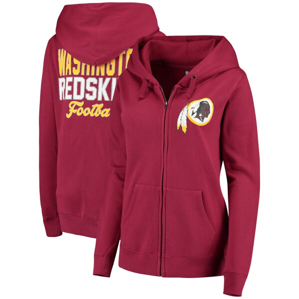 Washington Redskins 5th & Ocean by New Era Women's Halfback Full-Zip Hoodie - Burgundy