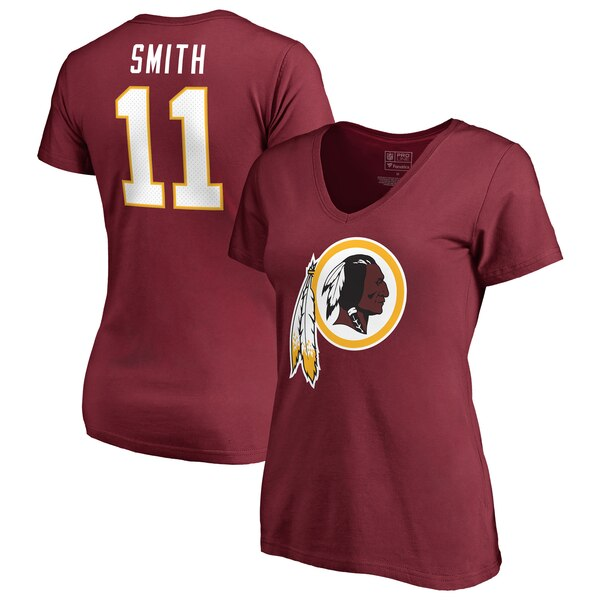 Alex Smith Washington Redskins NFL Pro Line by Fanatics Branded Women's Player Icon Name & Number V-Neck T-Shirt - Burgundy