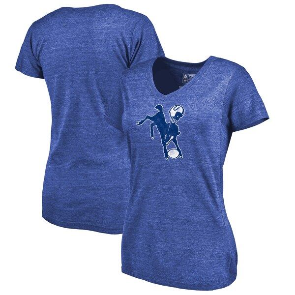 Indianapolis Colts Fanatics Branded Women's Throwback Logo Tri-Blend V-Neck T-Shirt - Royal
