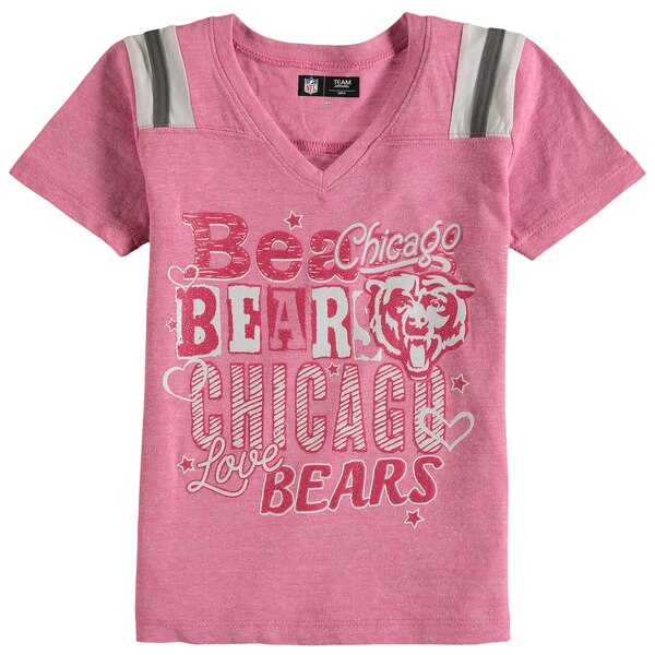 Chicago Bears 5th & Ocean by New Era Girls Youth Love of the Game Tri-Blend V-Neck T-Shirt - Pink