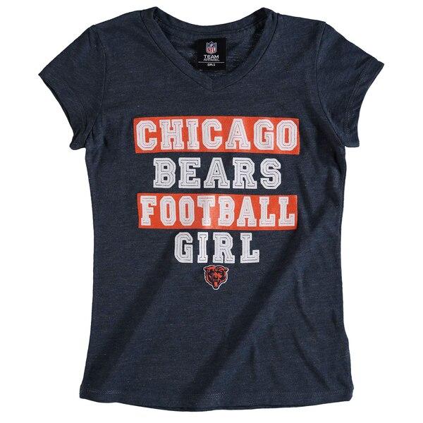 Chicago Bears 5th & Ocean by New Era Girls Youth Football Girl Tri-Blend V-Neck T-Shirt - Navy