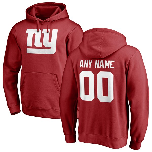 New York Giants NFL Pro Line Personalized Name & Number Logo Pullover Hoodie - Red