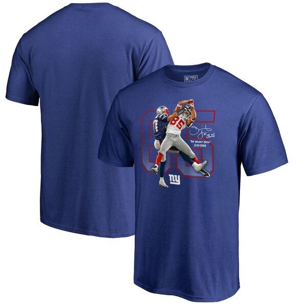 David Tyree New York Giants NFL Pro Line by Fanatics Branded Helmet Catch T-Shirt - Royal