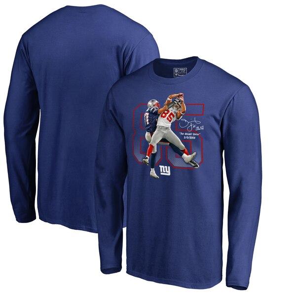 David Tyree New York Giants NFL Pro Line by Fanatics Branded Helmet Catch Long Sleeve T-Shirt - Royal