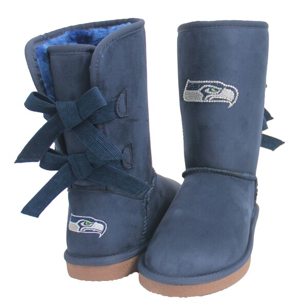 Seattle Seahawks Cuce Women's Patron Bow Boots - College Navy