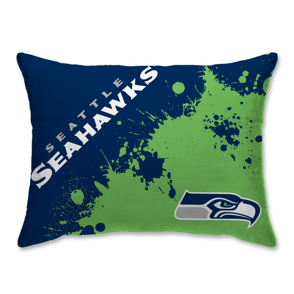 Seattle Seahawks Splatter Plush Bed Pillow - Blue