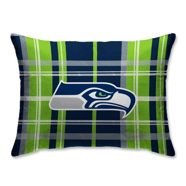 Seattle Seahawks Plaid Plush Sherpa Bed Pillow - Blue
