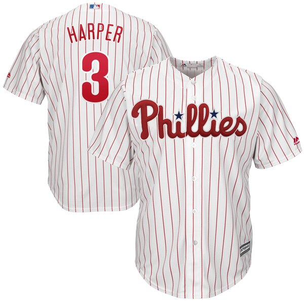 Bryce Harper Philadelphia Phillies Majestic Big & Tall Cool Base Replica Player Jersey - White/Scarlet