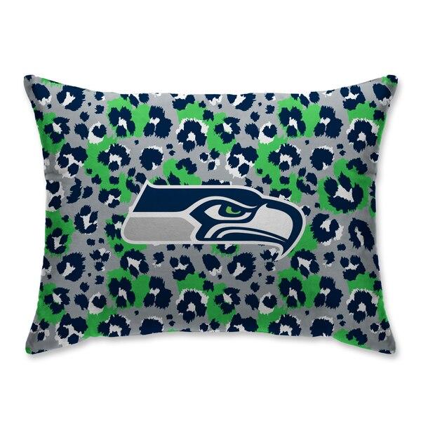 Seattle Seahawks Leopard Plush Bed Pillow - Blue