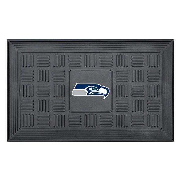 "Seattle Seahawks 19"" x 30"" Vinyl Medallion Door Mat - Black"