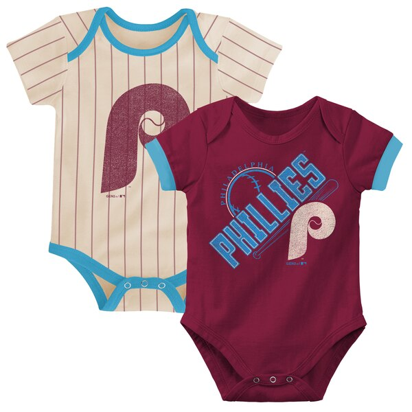 Philadelphia Phillies Infant Cooperstown Collection Groovy Game Two-Pack Bodysuit Set - Maroon/Tan