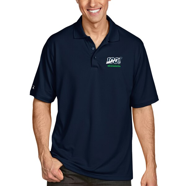Seattle Seahawks Antigua NFL 100 Pique Xtra-Lite Polo - Navy