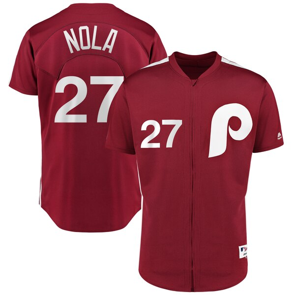 Aaron Nola Philadelphia Phillies Majestic 1979 Saturday Night Special Authentic Player Jersey - Scarlet