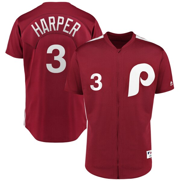 Bryce Harper Philadelphia Phillies Majestic 1979 Saturday Night Special Authentic Player Jersey - Scarlet