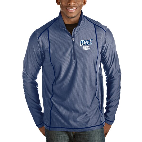 Indianapolis Colts Antigua NFL 100 Tempo Half-Zip Pullover Jacket - Heather Royal