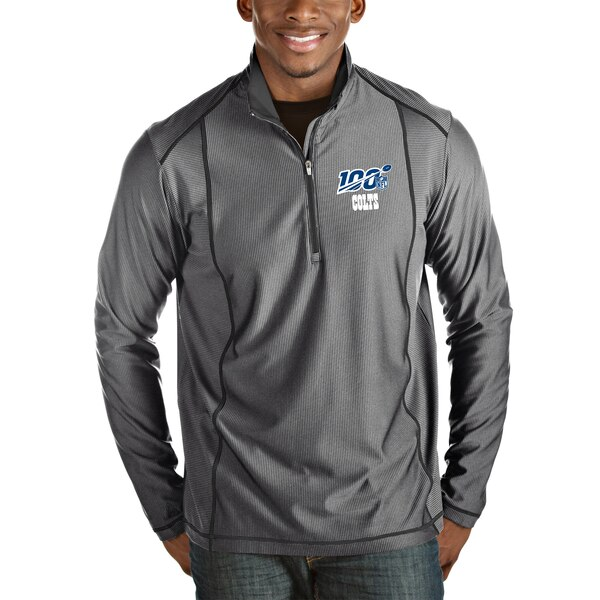 Indianapolis Colts Antigua NFL 100 Tempo Half-Zip Pullover Jacket - Heather Charcoal