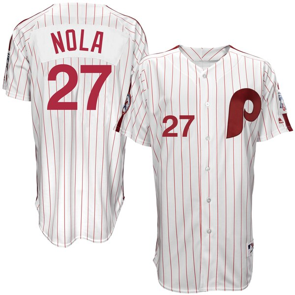 Aaron Nola Philadelphia Phillies Majestic Authentic 1976 Turn Back the Clock Player Jersey - White/Scarlet