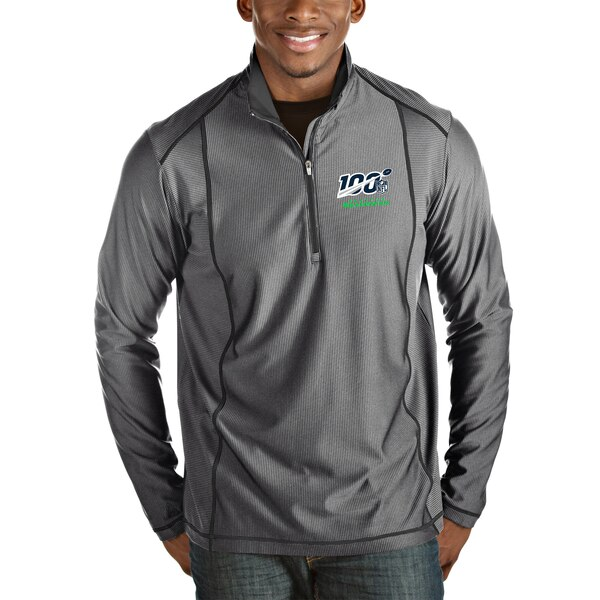 Seattle Seahawks Antigua NFL 100 Tempo Half-Zip Pullover Jacket - Heather Charcoal