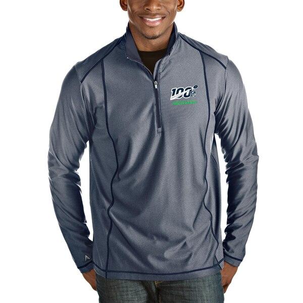 Seattle Seahawks Antigua NFL 100 Tempo Half-Zip Pullover Jacket - Heather Navy