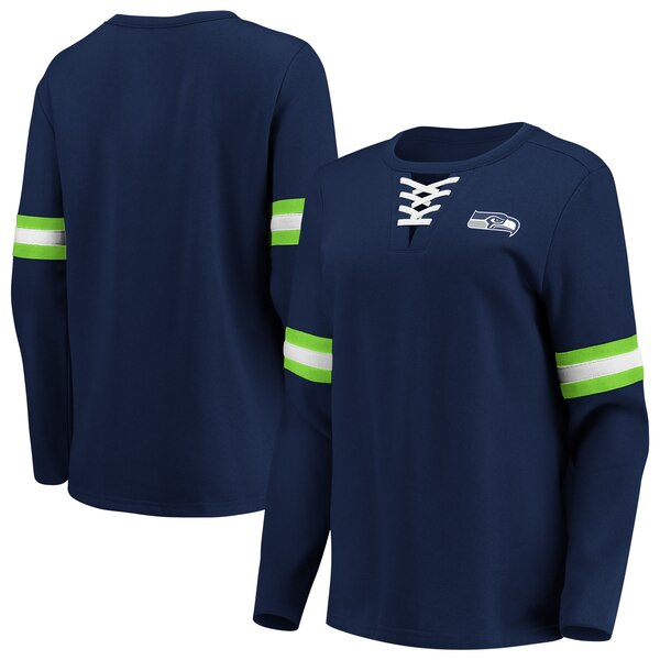 Seattle Seahawks Fanatics Branded Women's Lead Draft Lace-Up Pullover Fleece Sweatshirt - College Navy