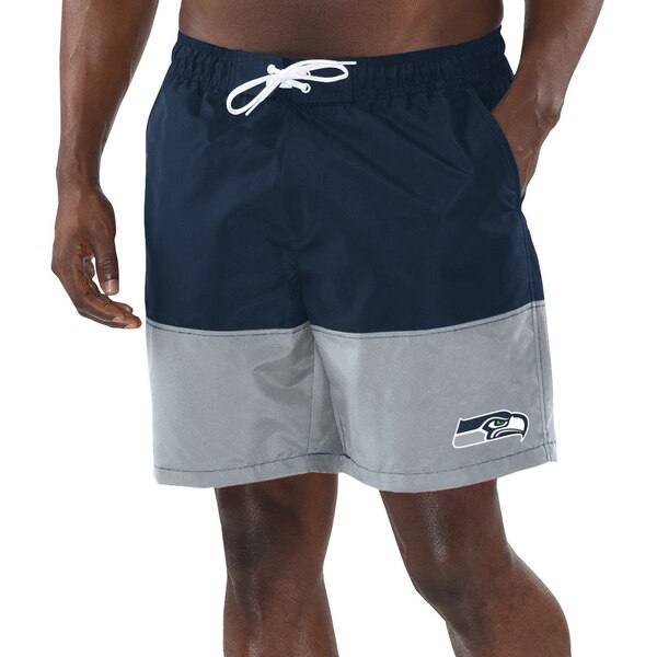 Seattle Seahawks G-III Sports by Carl Banks Anchor Volley Swim Trunks - College Navy/Gray
