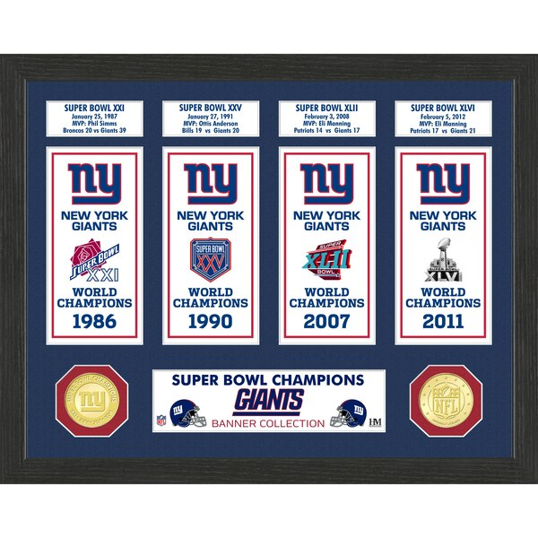 New York Giants Highland Mint 12'' x 15'' Super Bowl Banner Collection Photo Mint