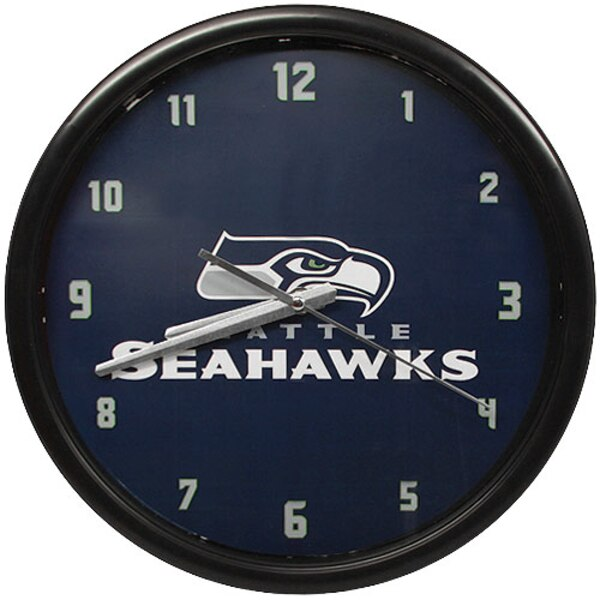 Seattle Seahawks Black Rim Basic Clock