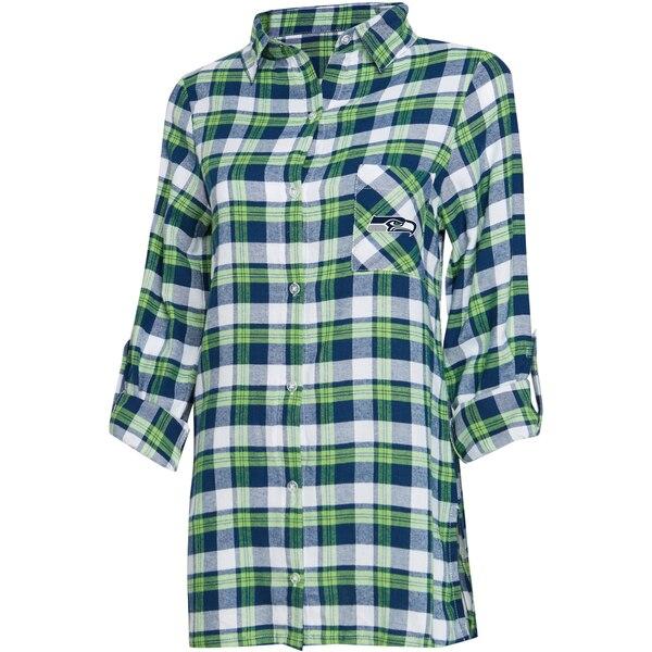 Seattle Seahawks Concepts Sport Women's Plus Size Piedmont Flannel Button-Up Long Sleeve Shirt - Navy/Neon Green