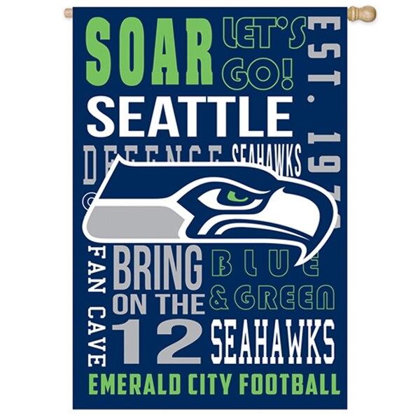 Seattle Seahawks 28'' x 30'' Fan Favorite Embossed House Flag