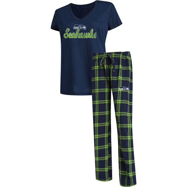 Seattle Seahawks Concepts Sport Women's Troupe V-Neck T-Shirt & Pants Sleep Set - College Navy/Neon Green