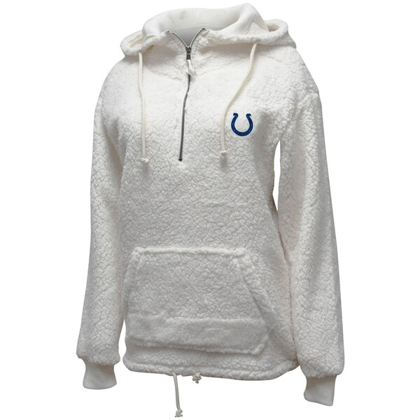 Indianapolis Colts New Era Women's Sherpa Quarter-Zip Pullover Hoodie - Cream