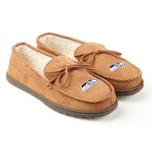 Seattle Seahawks Moccasin Slippers - Tan
