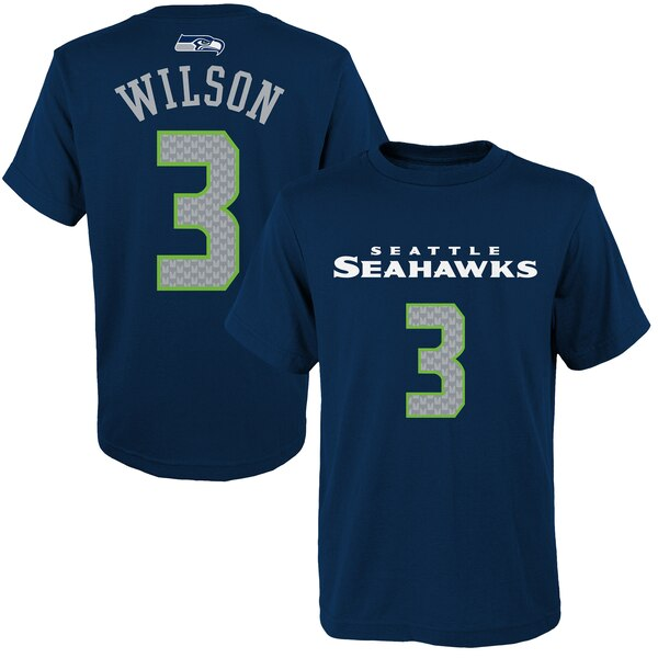 Youth Seattle Seahawks Russell Wilson Primary Gear Name & Number T-Shirt - College Navy