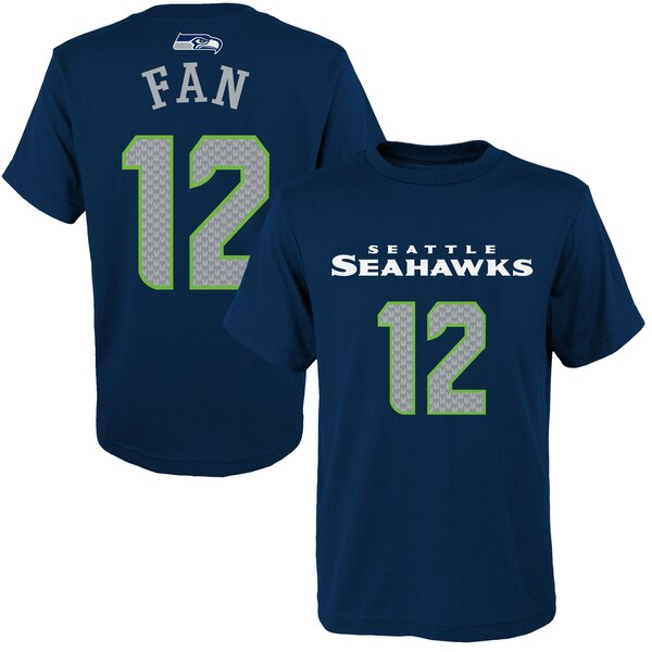12s Seattle Seahawks Youth Primary Gear Player Name & Number T-Shirt - College Navy