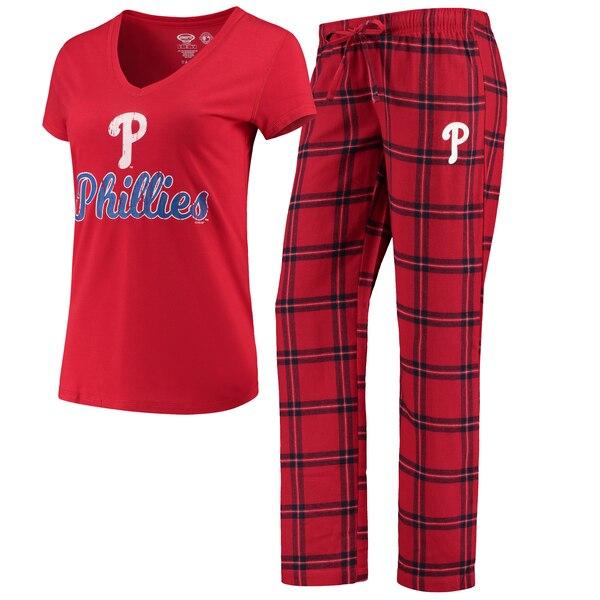 Philadelphia Phillies Concepts Sport Women's Troupe V-Neck T-Shirt & Pants Sleep Set - Red/Navy