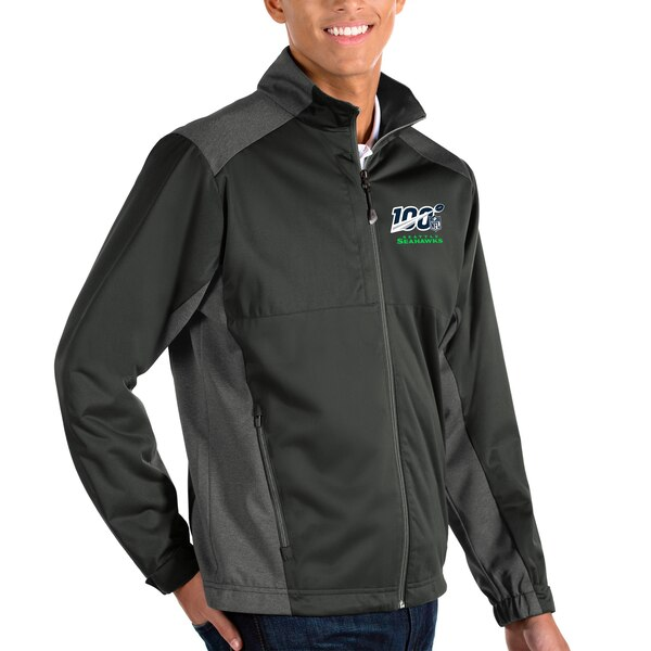 Seattle Seahawks Antigua NFL 100 Revolve Full-Zip Jacket - Charcoal/Heather Charcoal
