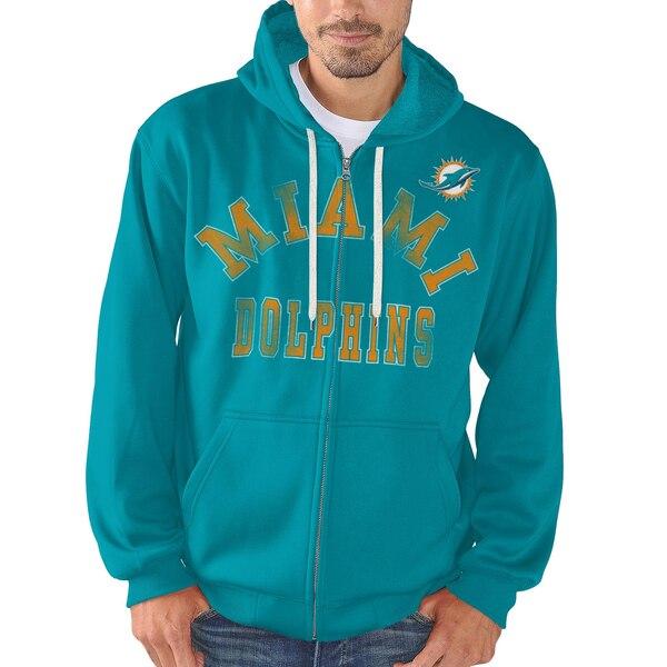 Miami Dolphins G-III Sports by Carl Banks Varsity Fleece Full-Zip Hoodie - Aqua