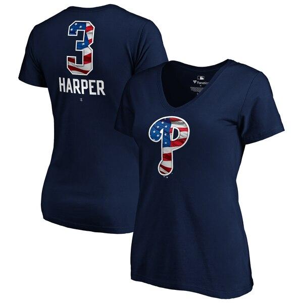 Bryce Harper Philadelphia Phillies Fanatics Branded Women's 2019 Stars & Stripes Banner Wave Name & Number V-Neck T-Shirt - Navy
