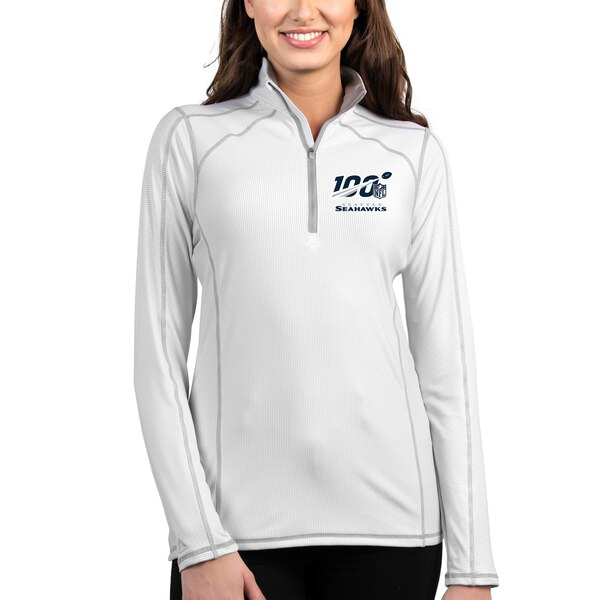 Seattle Seahawks Antigua Women's NFL 100 Tempo Half-Zip Pullover Jacket - White/Silver