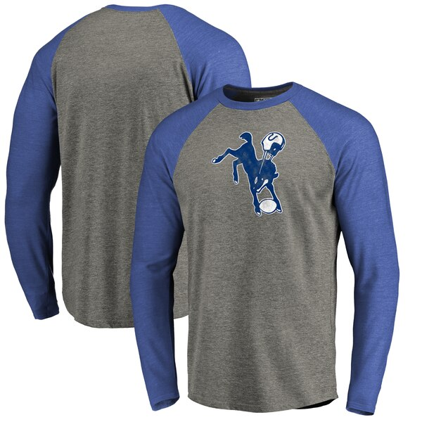 Indianapolis Colts NFL Pro Line by Fanatics Branded Throwback Logo Big & Tall Long Sleeve Tri-Blend Raglan T-Shirt - Gray/Royal